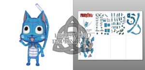 Fairy Tail Happy Papercraft Preview by HellswordPapercraft