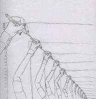 Hand repeat sketch closeup by JL010203