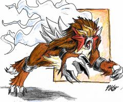 Entei Legendary Dog of Fire by NakamuraKaito