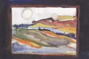 Landscape with two moons by Anna-Maija