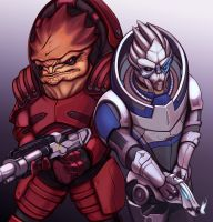 Wrex and Garrus by hybridmink