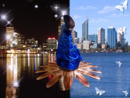 Perth skyline at night and day by duzetdaram