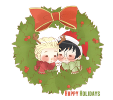 Chibi Drarry - Happy Holidays! by Cremebunny
