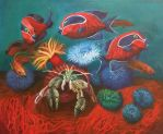 Ringed Anemone Hermitcrab and Masked Tangs by whipscorpion