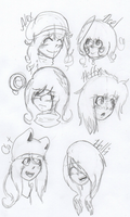 Head shots: Sketches by Ask--Miki