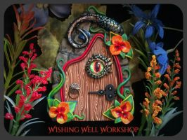 Polymer Clay Dragon Fairy Door by missfinearts