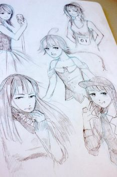 Traditional sketch samples by Soured-Milk