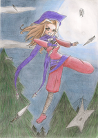 A kunoichi, some coniferous and the moon by geminis-rin