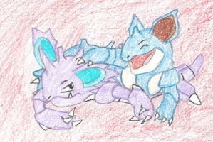 NidoKing and NidoQueen by SnwyPenguin07