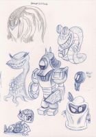 Pen Sketch Creatures 1 by megadrivesonic