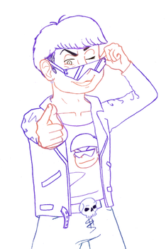 Karamatsu line art :collaboration: by DickNoodleSoup