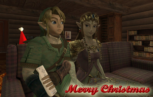 Link and Zelda Christmas by Dragoshi1