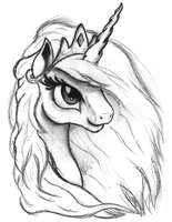 Celestia Portrait Sketch by AncientOwl