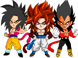 Goku and Vegeta and Gogeta by RedDBZ
