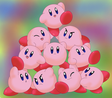 Cute Kirby Pile-Up by Aven-Mochi