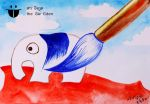 Paint the white elephant with blue color by sw-eden