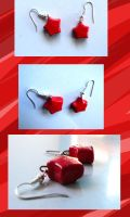 Red Star Earrings by Eliwi