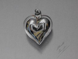 Chrome heart pendant DRAWING by marcellobarenghi