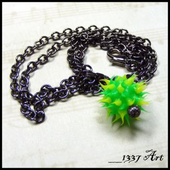 Yellow and Green Spiky Rubber Ball Necklace by 1337-Art