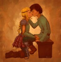 Hiccup and Astrid fluff by twinklepug