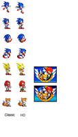 Sonic 3 HD-ish sprite remakes by dinojack9000