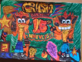 Crash bandicoot 15 colour by Fox-On-Fire