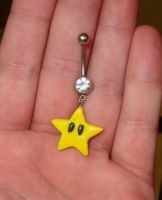 Mario Star Power Belly Ring by RainbowKidShop