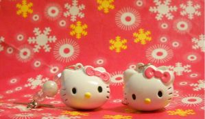 Hello kitty earrings by FinsternisSan
