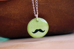 Mustache on lime necklace by earthexpressions