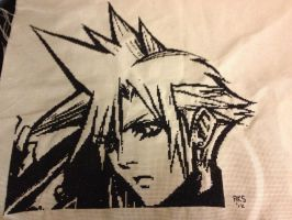Cloud Strife Cross Stitch by Schrimpyoctopus