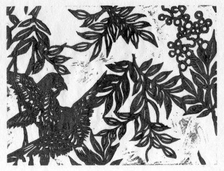 Birds and Leaves - wood block by Naerko