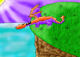 Dragon on a Cliff by Sakurarules