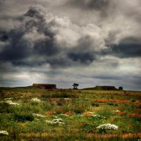 red on green and clouds by VaggelisFragiadakis
