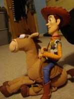 Side view of Woody and Bullseye by spidyphan2