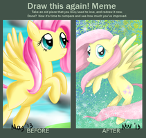Meme  Before And After : Fluttershy by PoisonicPen