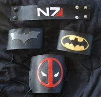 Batman Deadpool and N7 Leather Cuffs by RebelATS