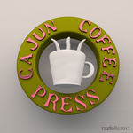 3D Logo Cajun Coffee Press by razfoil