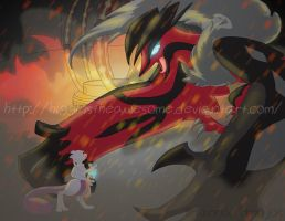 Mewtwo vs Yveltal by HigginstheAwesome