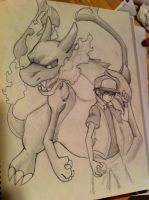 Red and Mega Charizard X (sketch) by KH-LoZ-er