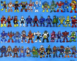 Megaman NES bosses by MikesSketchbook