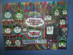 Thomas Friends SteamiesVsDiesels Colorful Drawing by NWeezyBlueStars23