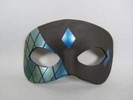 Teal Stained Glass Tiled Leather Masquerade Mask by maskedzone