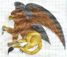Gryphon and mouse coloured by fedishi