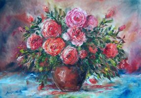 roze flowers roses by ENERGIA1