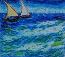 Stormy sea - oil pastels by davepuls