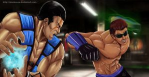 Commission: Sub-Zero  vs Johnny Cage by Amenoosa