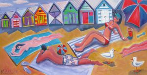 Sunbathers at Brighton beach by karincharlotte