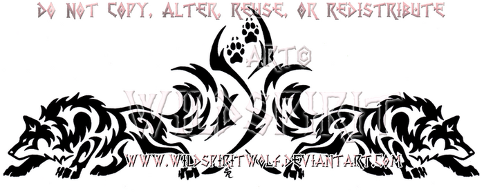 Dual Prowling Wolves Tribal Design by WildSpiritWolf