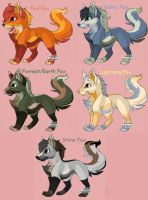 Elemental Foxes Set 1 [OPEN] PRICE REDUCED 1 LEFT by Rems-Adoptables