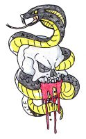 Skull and Snake Tattoo by Soul-feeder